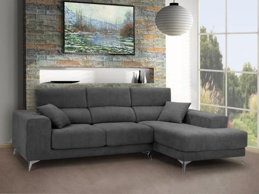 Chaise longue sofa with sliding memory foam seats - Nashville. Grey fabric. Chaise longue on the right