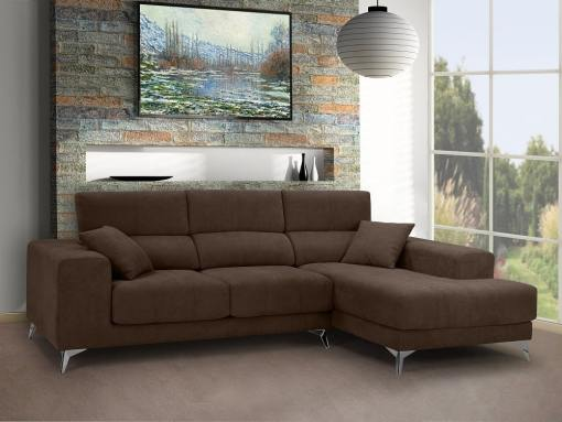Chaise longue sofa with sliding memory foam seats - Nashville. Brown fabric. Chaise longue on the right