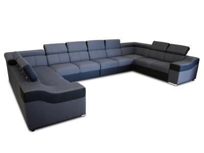 """10-местный диван в форме буквы """"П"""", XXXL - Paris. Серая ткань, чёрная искусственная кожа"""
