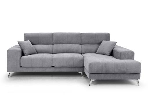 Front view. Chaise longue sofa Nashville. Light grey fabric. Chaise longue on the right