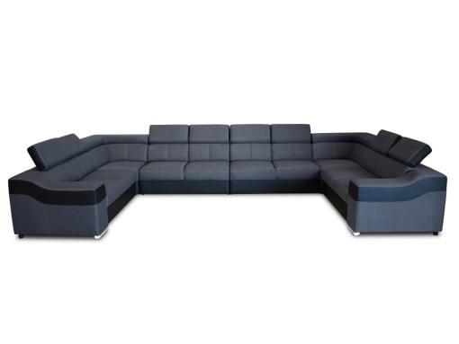 Вид спереди 10-местного дивана Paris. Серая ткань, чёрная искусственная кожа