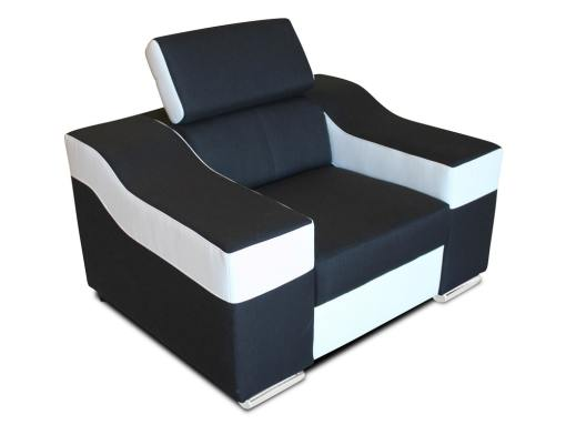 Armchair with reclining headrest and wide armrests - Grenoble. Black and white