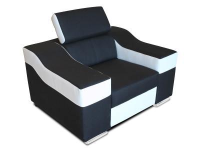 Sillón blanco y negro con reposacabezas reclinable modelo Grenoble