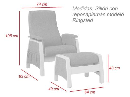 Dimensions of the gliding armchair and footstool - Ringsted