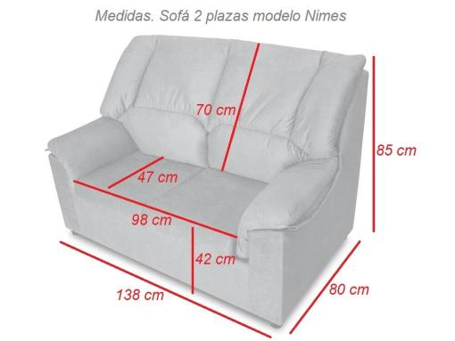 Dimensions of the 2-seater sofa - Nimes