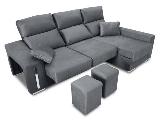Chaise longue sofa with sliding seats, reclining headrests, 2 pouffes, storage. Grey fabric. Chaise longue on the right