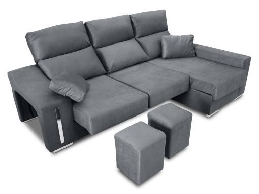 Sofá chaise longue (derecha), asientos extraíbles, cabezales abatibles, 2 pufs - Nantes. Tela gris