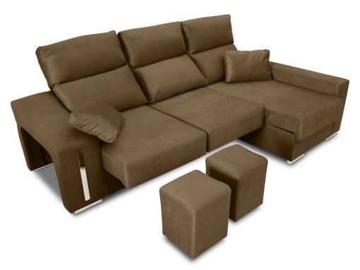 Chaise longue sofa with sliding seats, reclining headrests, 2 pouffes, storage. Brown fabric. Chaise longue on the right