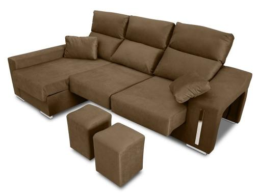 Chaise longue sofa with sliding seats, reclining headrests, 2 pouffes, storage. Brown fabric. Chaise longue on the left