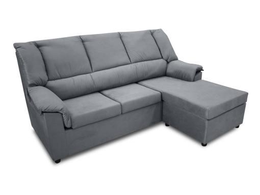Sofá chaise longue pequeño económico - Nimes. Tela gris, chaise longue montada a la derecha