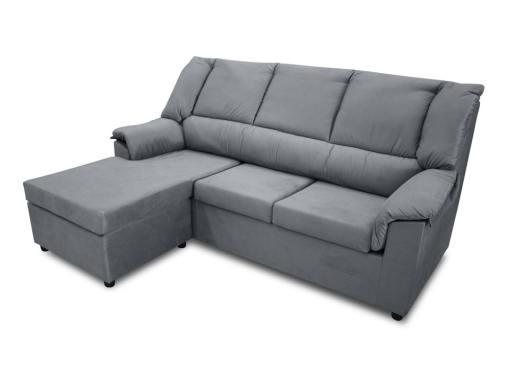 Sofá chaise longue pequeño económico - Nimes. Tela gris, chaise longue montada a la izquierda