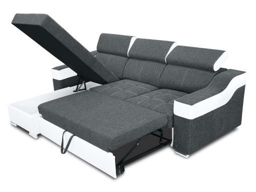 Угловой диван-кровать с высокими подголовниками, отделением для белья - Albi Plus. Угол слева, тёмно-серая ткань, белая искусственная кожа