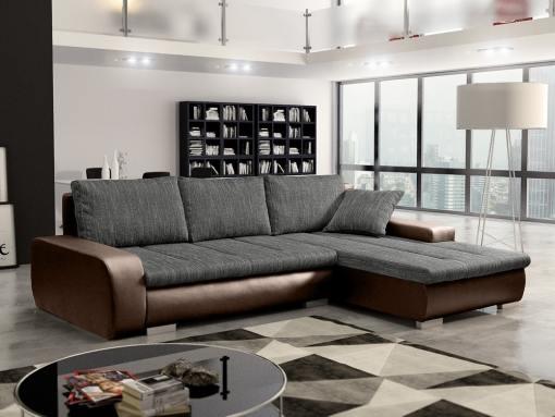 Sofá chaise longue cama con arcón, tela imitación lino - Richmond. Tela gris, piel sintética marrón. Chaise longue lado derecho