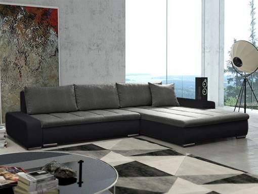 Sofá chaise longue grande XXL con cama y arcón - Vernon. Tela gris, polipiel negra. Chaise longue lado derecho