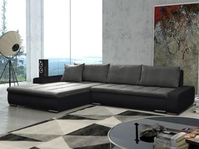 Sofá chaise longue grande XXL con cama y arcón - Vernon. Tela gris, polipiel negra. Chaise longue lado izquierdo