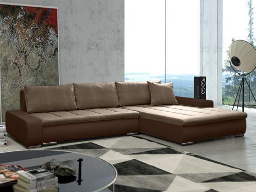 Sofá chaise longue grande XXL con cama y arcón - Vernon. Tela marrón, polipiel marrón. Chaise longue lado derecho