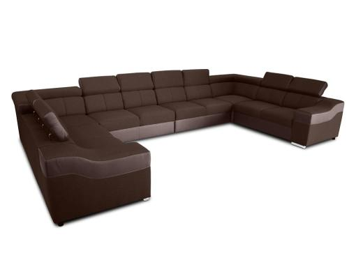 """10-местный диван в форме буквы """"П"""", XXXL - Paris. Коричневая ткань, коричневая искусственная кожа"""