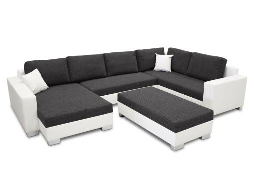 U-shaped sofa with pouffe covertible into a bed - Lyon. Dark grey fabric, white faux leather, corner on the right