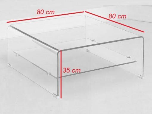 Medidas de la mesa de centro cuadrada de cristal - Onil
