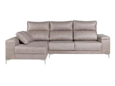Chaise longue sofa with armrest storage - Huelva. Light grey fabric, chaise longue on the left