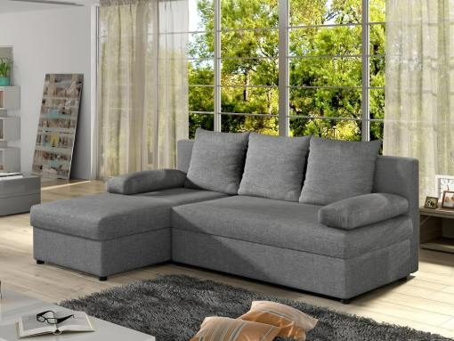 Small chaise longue sofa bed - York. Light grey fabric. Chaise longue on the left