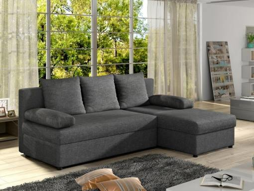 Small chaise longue sofa bed - York. Grey fabric. Chaise longue on the right