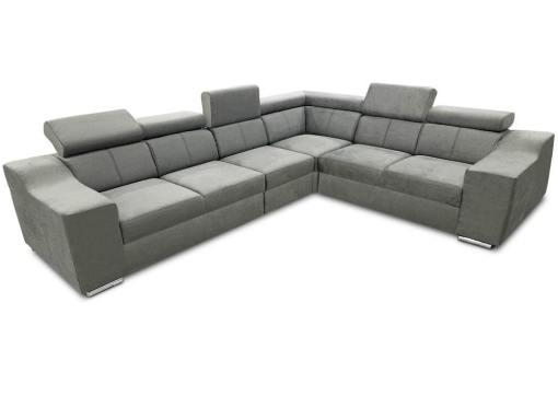 Sofá rinconera con altos reposacabezas y respaldos, 6 plazas - Grenoble. Tela gris claro (todo el sofá). Lado derecho
