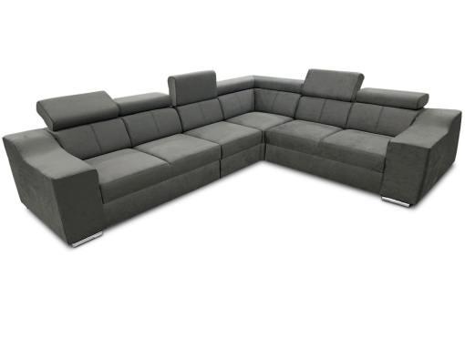 Sofá rinconera con altos reposacabezas y respaldos, 6 plazas - Grenoble. Tela gris (todo el sofá). Lado derecho