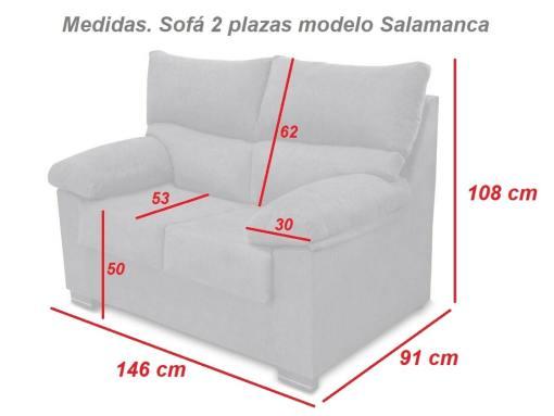 Medidas. Sofá 2 plazas modelo Salamanca