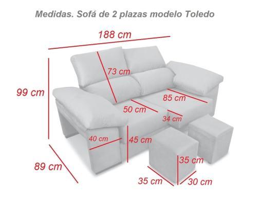 Medidas. Sofá dos plazas, asientos deslizantes, respaldos reclinables, 2 pufs - Toledo