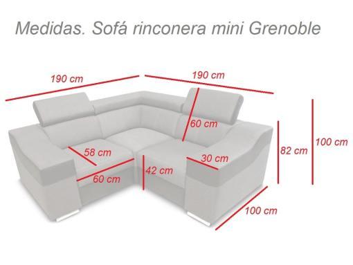 Medidas. Sofá rinconera mini, reposacabezas reclinables y brazos anchos - Grenoble