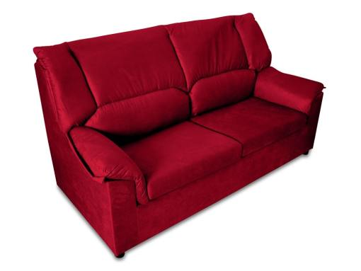Small inexpensive 3-Seater sofa - Nimes. Dark red stain resistant fabric