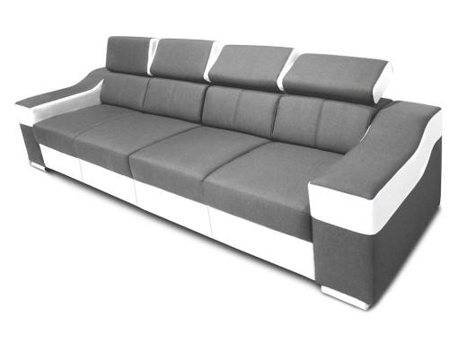 4 seater sofa with reclining headrests and wide armrests - Grenoble. Light grey fabric, white faux leather