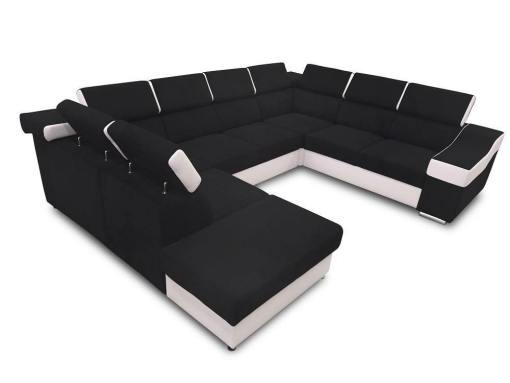 Sofá 7 plazas en forma de U con cama extraíble y reposacabezas reclinables - Cannes. Brazo lado derecho. Tela negra polipiel blanca