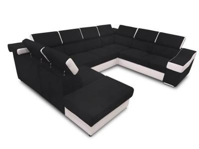 Семиместный диван Cannes. Чёрная ткань и белая искусственная кожа. Подлокотник справа