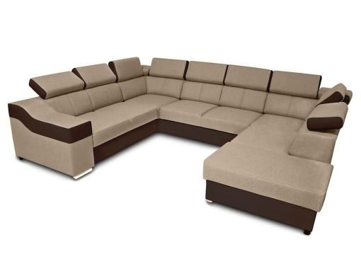 Sofá 7 plazas en forma de U con cama extraíble y reposacabezas reclinables - Cannes. Brazo lado izquierdo. Tela beige, polipiel marrón
