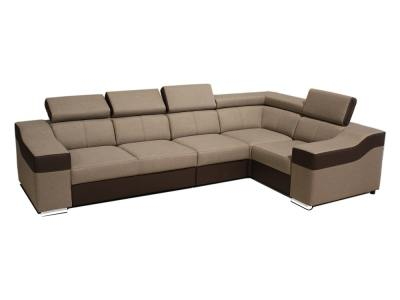 5 seater corner sofa with high backrests and headrests - Grenoble. Beige fabric, brown faux leather. Corner on the right