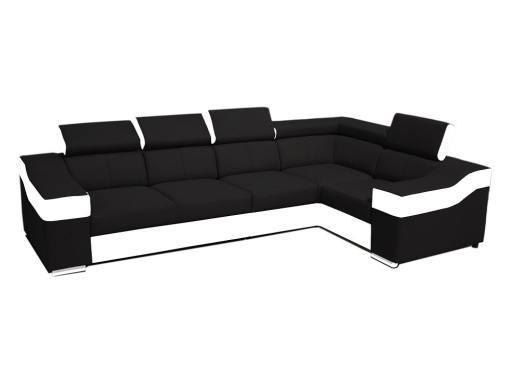 Sofá rinconera 5 plazas, altos reposacebezas y respaldos - Grenoble. Ángulo derecho, tela negra, polipiel blanca