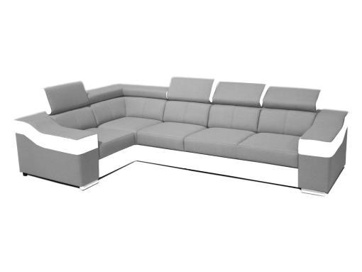 Sofá rinconera 5 plazas, altos reposacebezas y respaldos - Grenoble. Ángulo izquierdo, tela gris claro, polipiel blanca