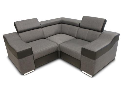 Sofá rinconera mini 190 x 190 cm, reposacabezas reclinables y brazos anchos - Grenoble. Tela gris, polipiel negra