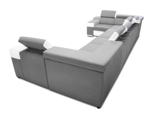 Tapizado detrás. Sofá en forma de U, 8 plazas, XXL - Chessy. Tela gris claro, piel sintética blanca