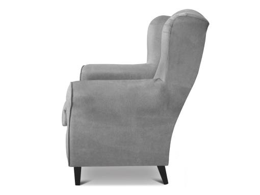 Side view of the Amiens armchair. Grey fabric