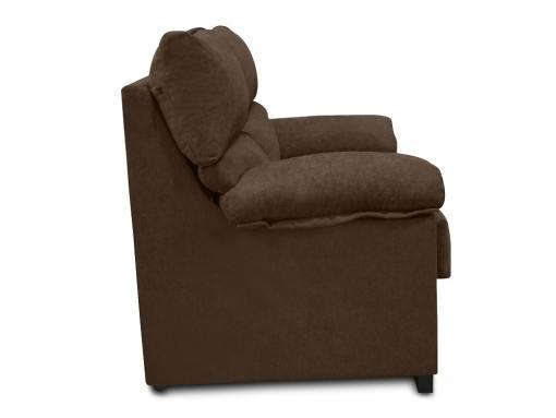 Vista lateral. Sofá 2 plazas económico en tela sintética marrón (chocolate) - Salamanca