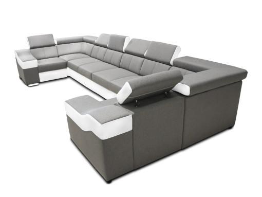 Vista lateral. Sofá en forma de U, 8 plazas, XXL - Chessy. Tela gris claro, piel sintética blanca