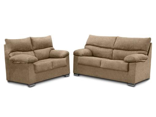 Conjunto de sofás 3+2 en tela sintética - Salamanca. Color beige