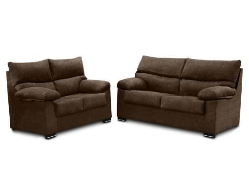 Conjunto de sofás 3+2 en tela sintética - Salamanca. Color marrón (chocolate)