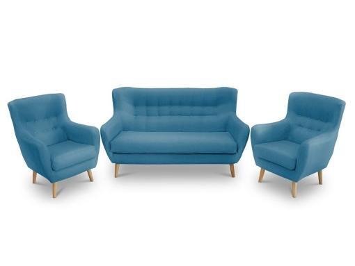Conjunto de un sofá 2 plazas de diseño con botones y 2 sillones – Stockholm. Tela azul