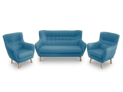 Set of 2-seater upholstered designer buttoned sofa and 2 armchairs - Stockholm. Blue fabric