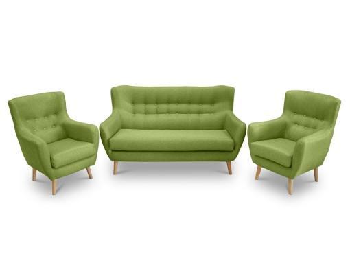 Conjunto de un sofá 2 plazas de diseño con botones y 2 sillones – Stockholm. Tela verde