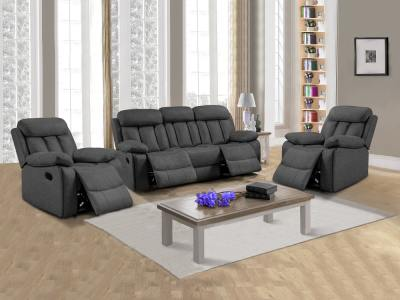 Living room set 3+1+1: three-seater recliner and two armchairs - Barcelona. Grey fabric Luna